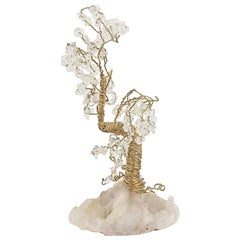 Quartz and Crystal Wire Tree Sculpture