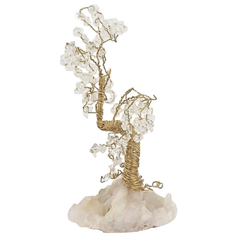 Quartz and Crystal Wire Tree Sculpture For Sale