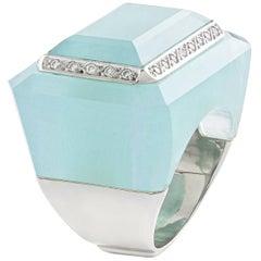 Quartz and Diamond on White Gold Ring