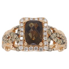 Quartz and Diamond Ring in 14 Karat Rose Gold