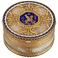 Quartz and Gold Snuff Box with Enamel and Diamond, Rozet and Fishmeinster