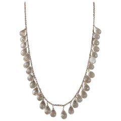 Quartz Briolette Dangle Necklace in Sterling Silver