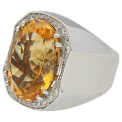 Quartz Citrine Diamonds Gold Cocktail Ring