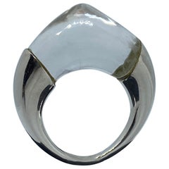 Modern Quartz Crystal Sugarloaf Ring in Sterling Silver