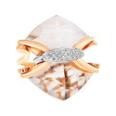 "Quartz & Diamonds Ring by Italian Designer ""Falcinelli"""