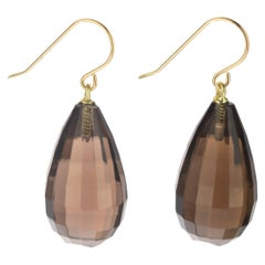 Quartz Fume Faceted Drop Brown 18 Karat Gold Dangle Modern Cocktail Earrings