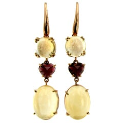 Quartz Garnet Heart Gold Drop Earrings