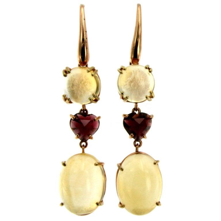 Quartz Garnet Heart Gold Drop Earrings