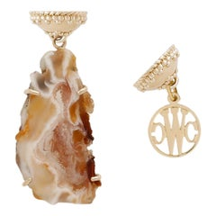 Natural Quartz Geode and 14K Yellow Gold Necklace Pendant