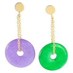 Quartz Green Purple Donut 18 Karat Gold Chain Cocktail Chic Drop Dangle Earrings