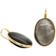 Quartz on Yellow Gold Earring