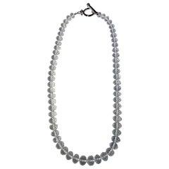 Quartz Rondelle Necklace with Silver T-Bar Clasp