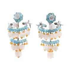 Quartz Sapphires Apatite Traditional Valencian Silver Enameled Earrings