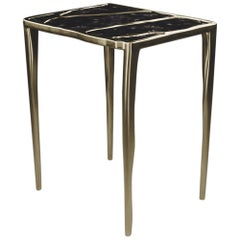 Quartz Side Table with Bronze-Patina Brass Inlay by R&Y Augousti