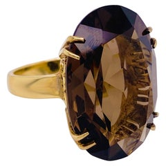 Quartz Solitaire Ring 14 Karat Yellow Gold Large Ring Claw Prongs, Smokey Quartz
