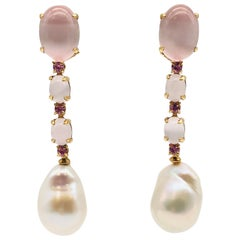 Quartz, Tourmalines and Baroque Pearls on Yellow Gold Earrings