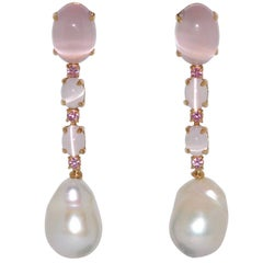 Quartz, Tourmalines and Freshwater Pearls on Yellow Gold Earrings