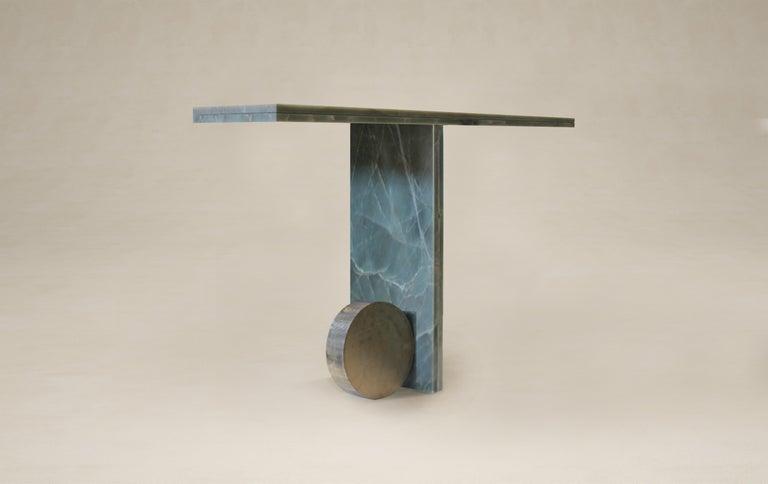 Quartzite Sculptural O Console by dAM Atelier Dimensions: L94 x W30 x H85 cm Materials: Green