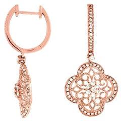 Quatrefoil Design Diamond Drop Earrings in 14kt Rose Gold with .52ct of Diamonds