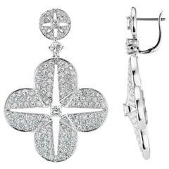 White gold quatrefoil diamond earrings 4.54 ct