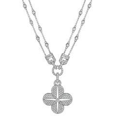 Quatrefoil Diamond Necklace in 18 Karat White Gold
