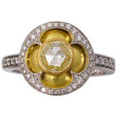Quatrefoil Ring in 18 Karat Yellow and White Gold with White Diamonds