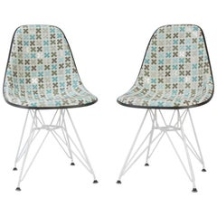 Quatrofoil Pair of Herman Miller Eames DSR Side Chair with Alex Girard Fabric