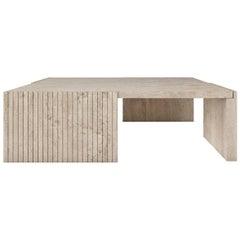 Quattro Coffee Table by Buket Hoscan Bazman, Travertine, Modern, Stone, Beige