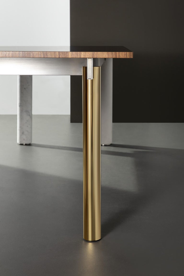 Brushed Quattro Gambe, Dining Table System, Designed by Francesco Faccin For Sale
