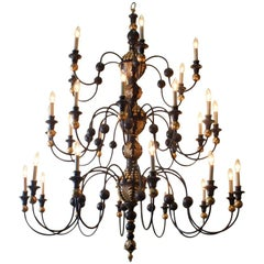 Quebec 18th Century Style Three-Tier Chandelier of Monumental Proportions