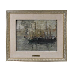 Quebec Canada Harbor Scene Oil Painting Paul B Earle