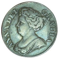 Queen Anne 1711 Original Shilling Coin AVF Toned