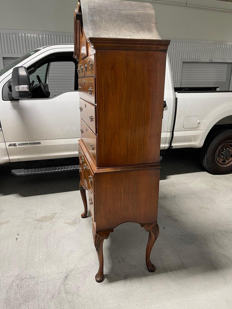 Queen Anne American Cherry Bonnet Top Highboy, 18th Century For Sale 5