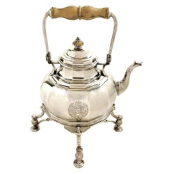 Queen Anne Antique Solid Silver Kettle on Stand with Burner Hot Water Teapot