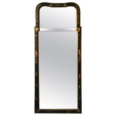 Queen Anne Black Chinoiserie Mirror