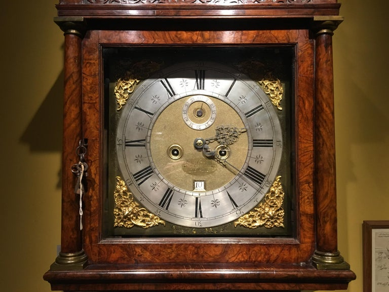 Queen Anne Burr Walnut Longcase Clock by Christopher Gould, London