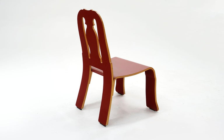 Post-Modern Queen Anne Chair in Red by Robert Venturi for Knoll For Sale