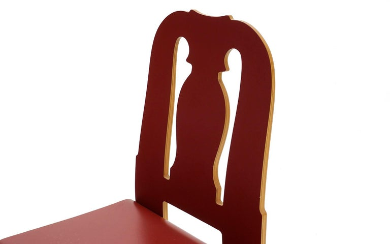Late 20th Century Queen Anne Chair in Red by Robert Venturi for Knoll For Sale