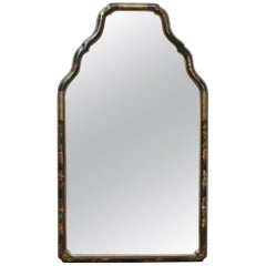 Queen Anne Chinoiserie Style Wall Mirror with Lacquered Border