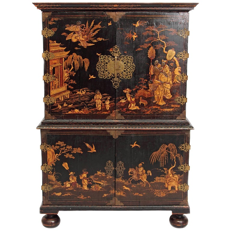 Queen Anne Collectors Cabinet / Japanned For Sale