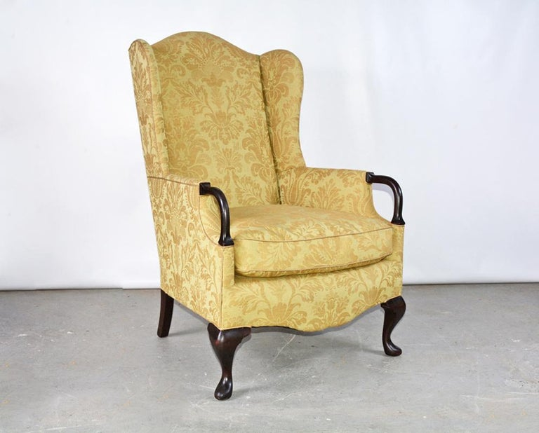 Queen Anne / George II Style Wingback Arm Chair In Good Condition For Sale In Great Barrington, MA
