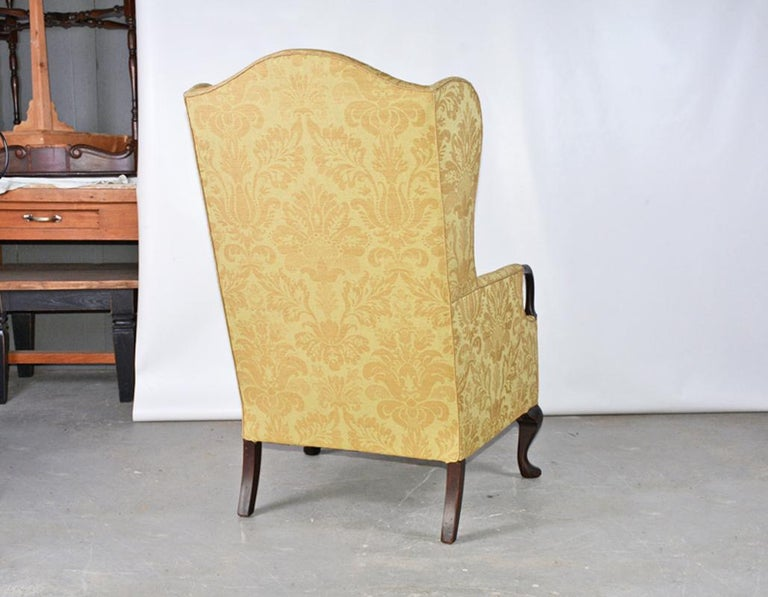 20th Century Queen Anne / George II Style Wingback Arm Chair For Sale