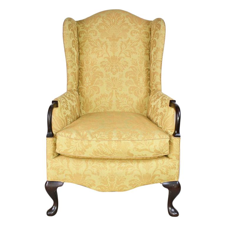 Queen Anne / George II Style Wingback Arm Chair For Sale