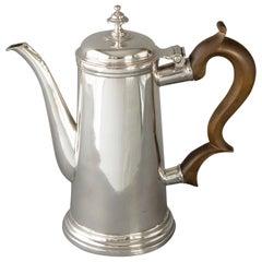 Queen Anne Irish Silver Coffee Pot, Dublin, 1706 by David King
