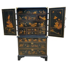Queen Anne Japanned Cabinet on Chest