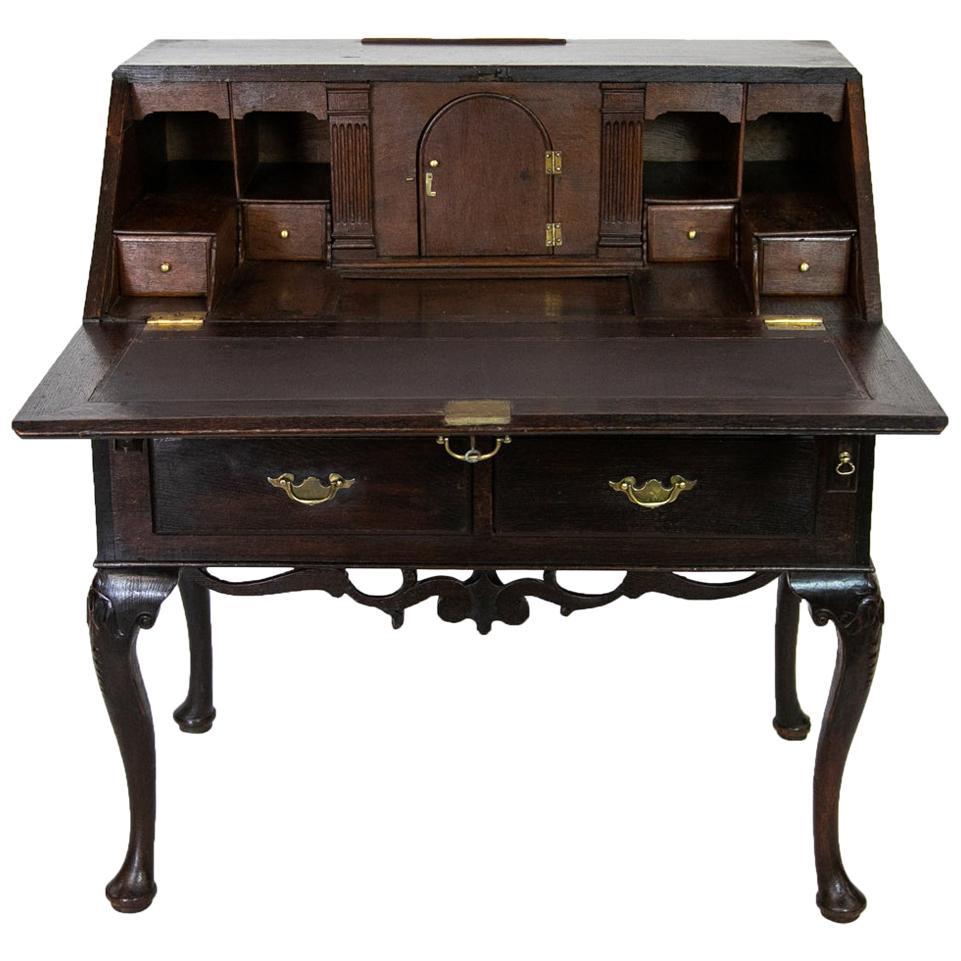 Queen Anne Oak Slant Front Desk