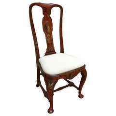 Queen Anne Period 18th Century Red Lacquered Side Chair with Gold Details