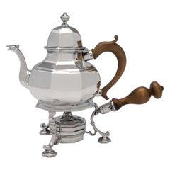 Queen Anne Period, Britannia Standard Silver Teapot on Warming Stand, 1712