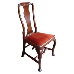 Queen Anne Period Chair Fruitwood High Curved Back Cabriole Carved Legs