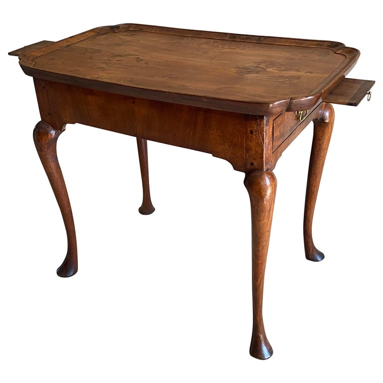 Queen Anne Period Walnut Silver Table For Sale